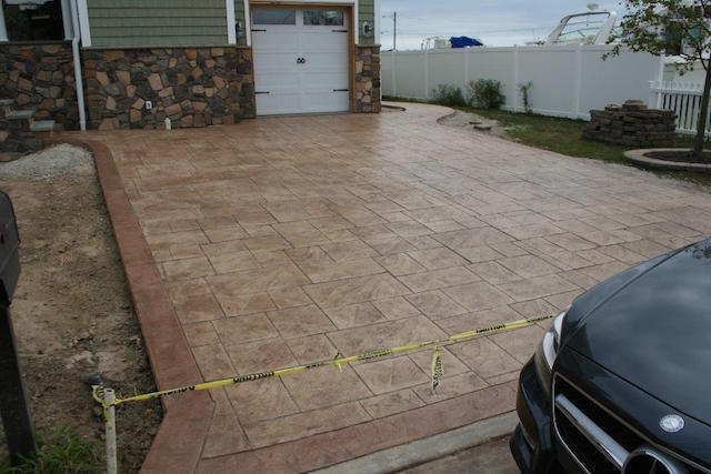 stamped concrete driveway installed in Shark River Hills NJ