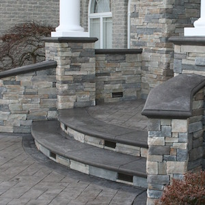 cultured stone stairs with bull nose