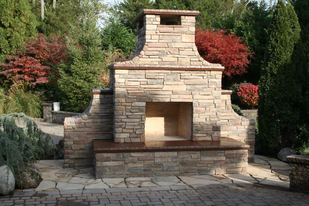 Custom Outdoor Stone Fireplace