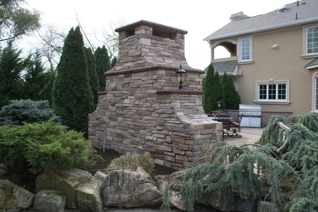 Back View of Outdoor Fireplace