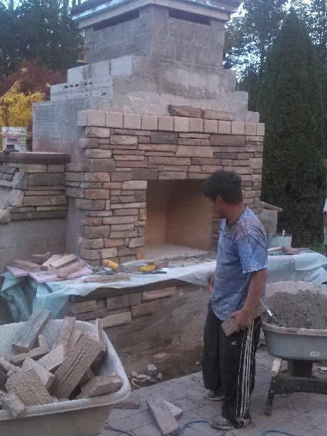 Outdoor Fireplace in Progress