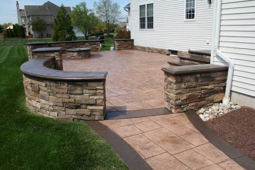 stamped concrete patio with stairs. Perfect Patio Custom Outdoor Stairs Built In Cream Ridge NJ The Patio Is Stamped Concrete   Inside Stamped Concrete Patio With Stairs
