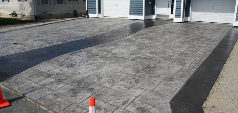 Stamped concrete driveway project in new jersey for New concrete driveway
