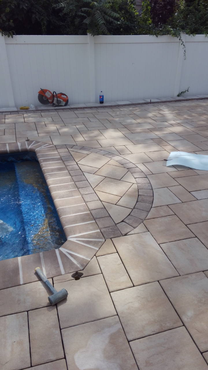Paver Pool Patio with Hammer Tool