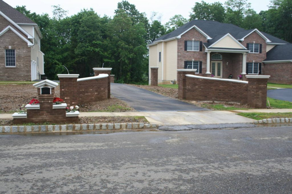 Brick Driveway Walls with Matching Brick Mailbox