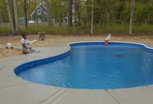 Installation of Concrete Pool Patio Wall NJ
