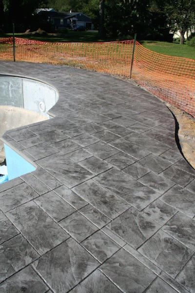 stamped concrete pool patio project in Red Bank, NJ
