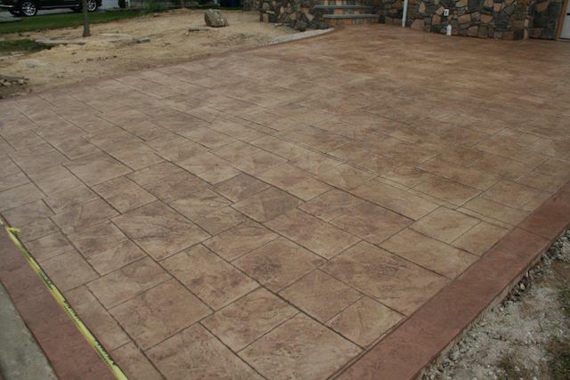 close up of the stamped concrete