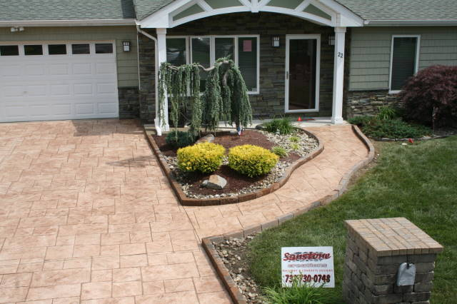 stamped concrete driveway and walkway installed in Tinton Falls, NJ