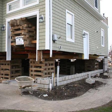 house raising foundation in progress in Neptune, NJ