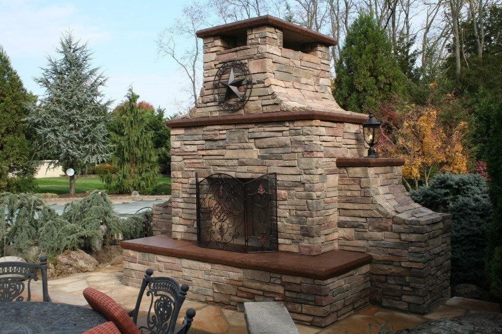 Outdoor Stone Fireplace Hardscape