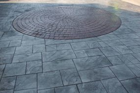 Stamped Concrete Driveway Red Circle