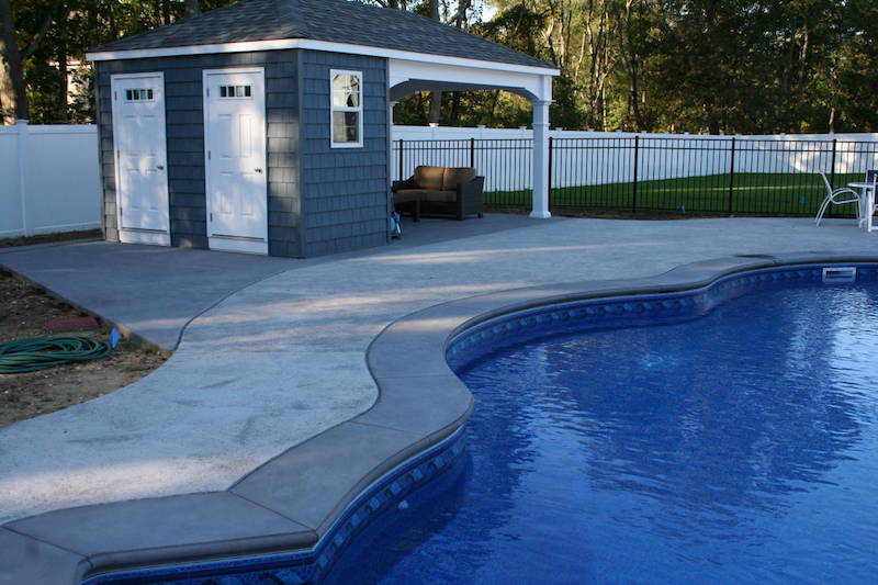 Stamped Concrete Pool Patio to Pool House