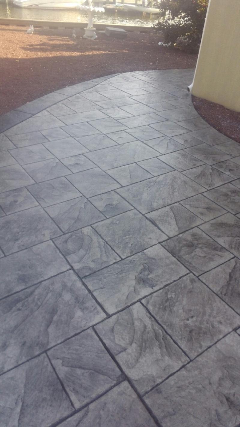 Grey Stamped Concrete Walkway