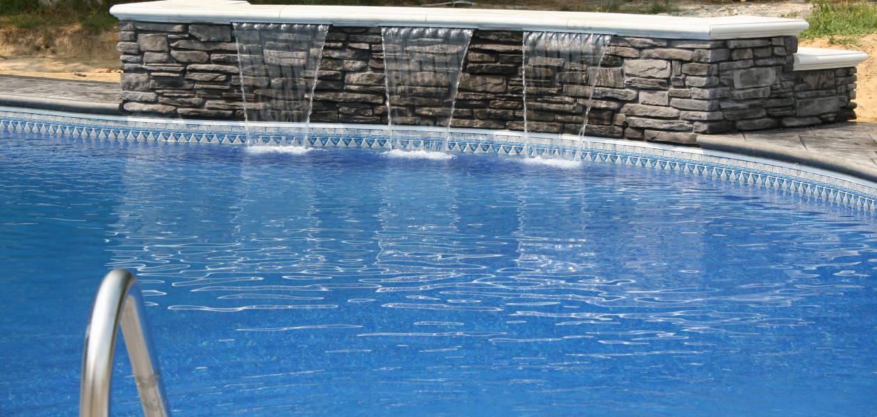 Grey Stone Waterfall into Pool