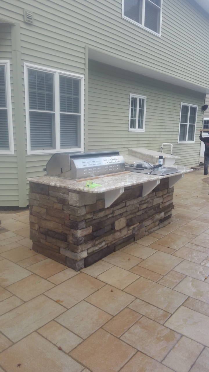 Installed Cultured Stone Grill Station in Point Pleasant