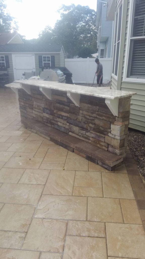 Cultured Stone Outdoor Cooking Space on Patio