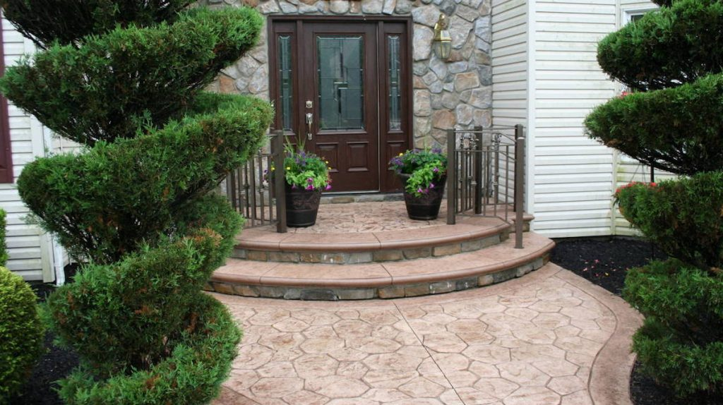 Stamped Concrete with Cultured Stone Steps