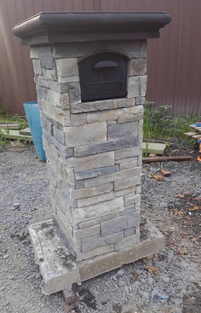 Grey Slate Brick mailbox