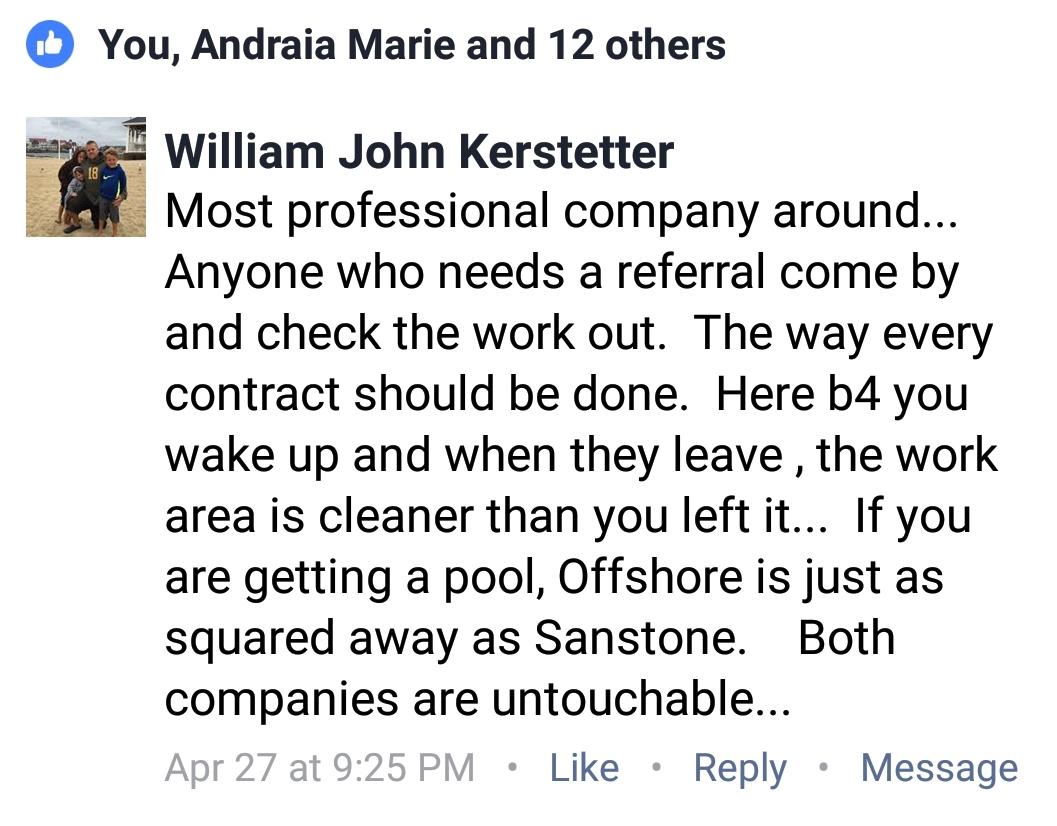 William Kerstetter Testimonal Pool Patios brick mailbox Professional company