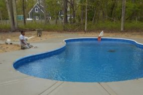 Sanstone Installation of Concrete Pool Patio