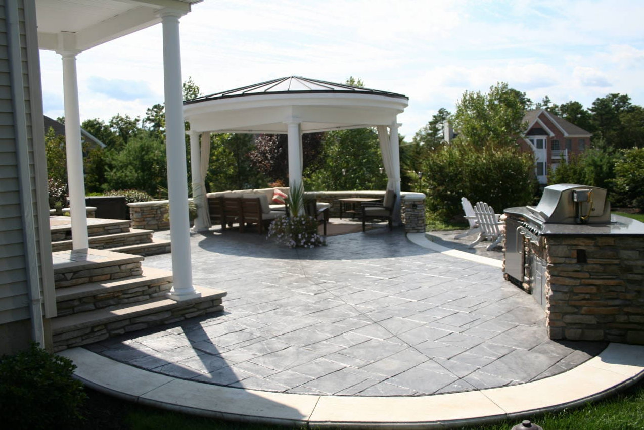 Stamped Concrete Patio, open air kitchen,